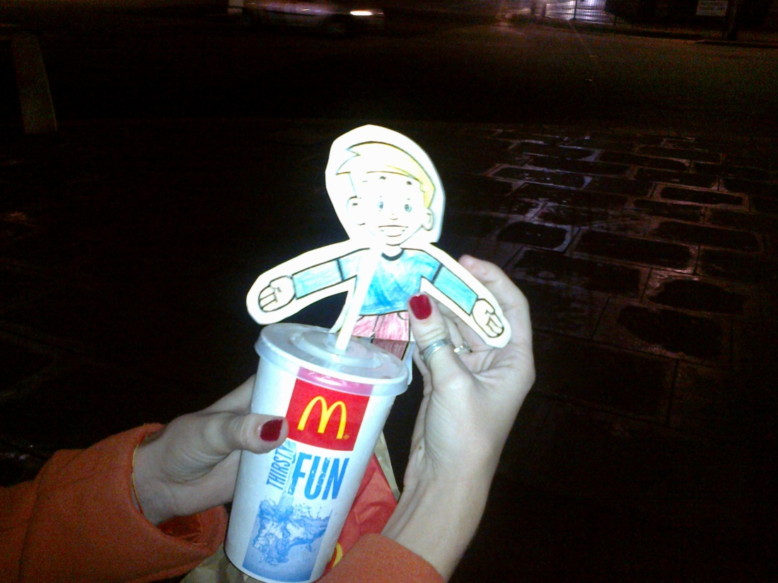 Stan enjoying McDonalds by Westminster