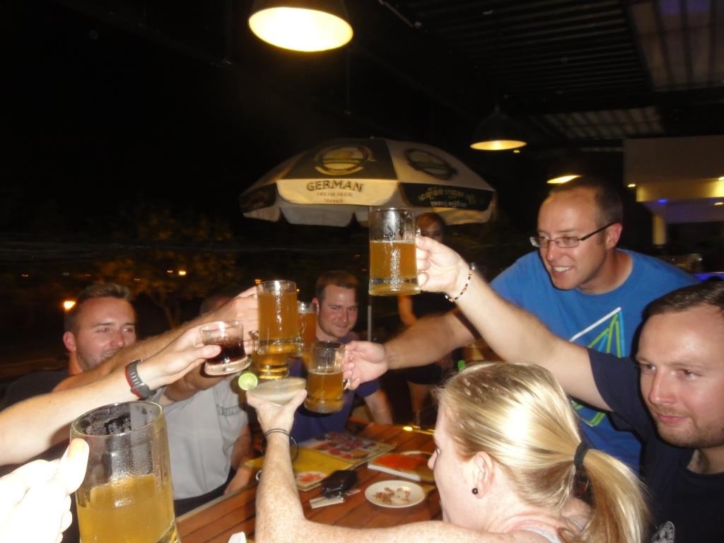Celebrating a safe arrival in Phnom Penh
