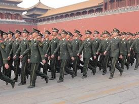 Marching in Tiananmen Square