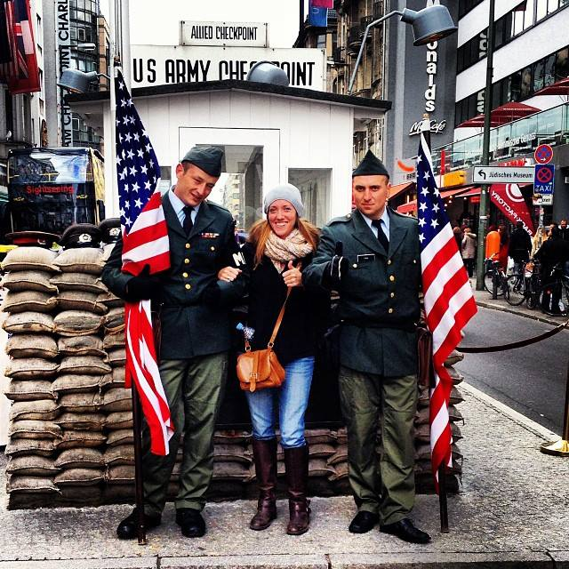 Posing with Germans dressed as US soldiers.
