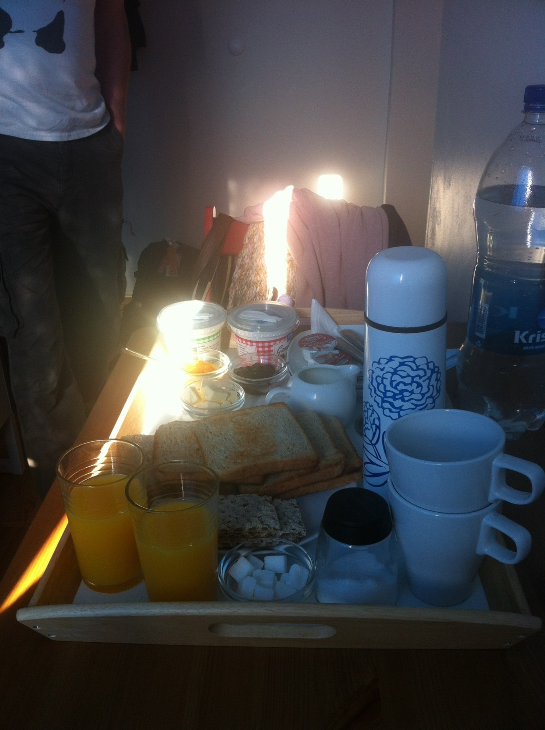 Breakfast, homemade and served in the room.