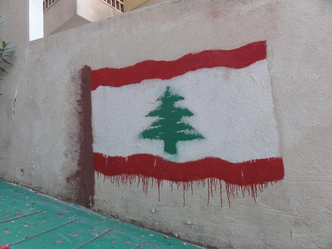 Lebanese flag, street art.