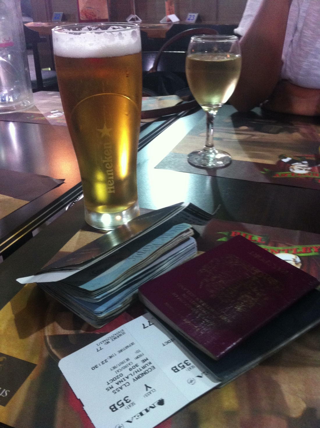 Beer, passports, and plane tickets. <3