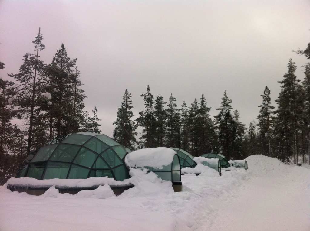Famous glass igloos during the day