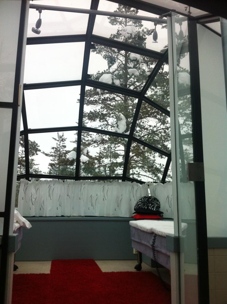 Sneak peek at interior of glass igloo