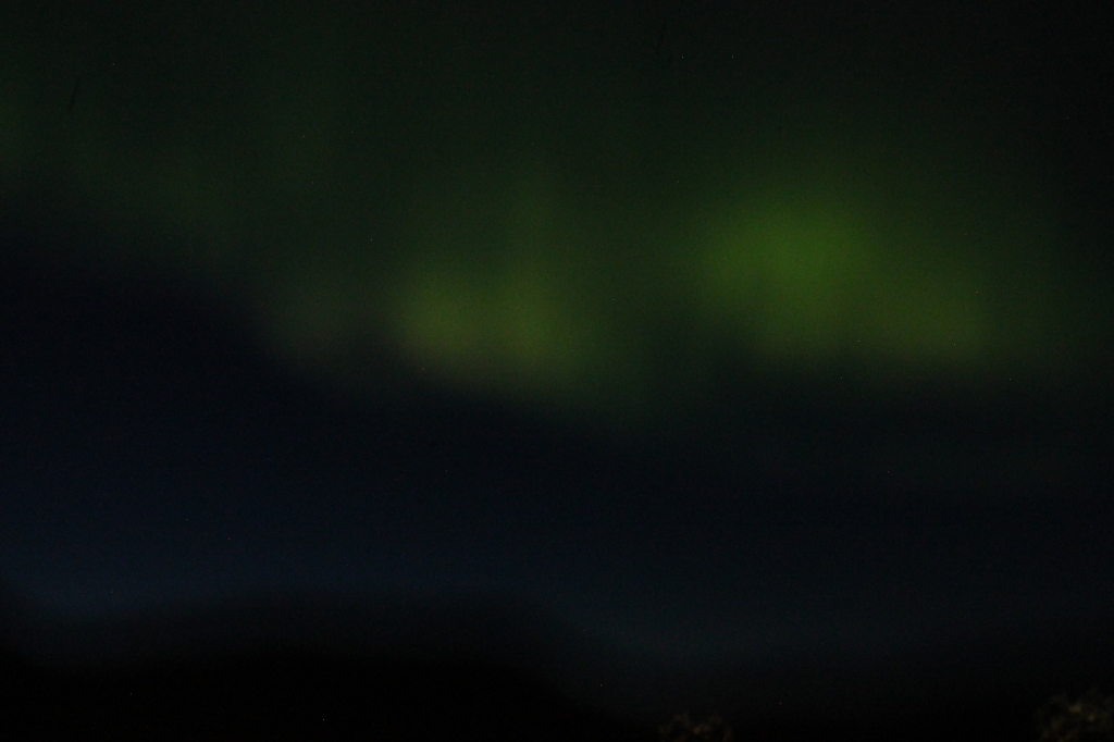 Here are some blurry northern lights photos I took in Iceland. They basically looked the same from the plane window.