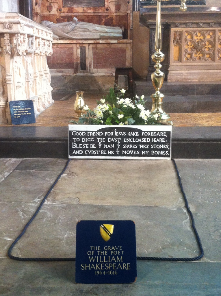 Shakespeare's grave, and its famous warning