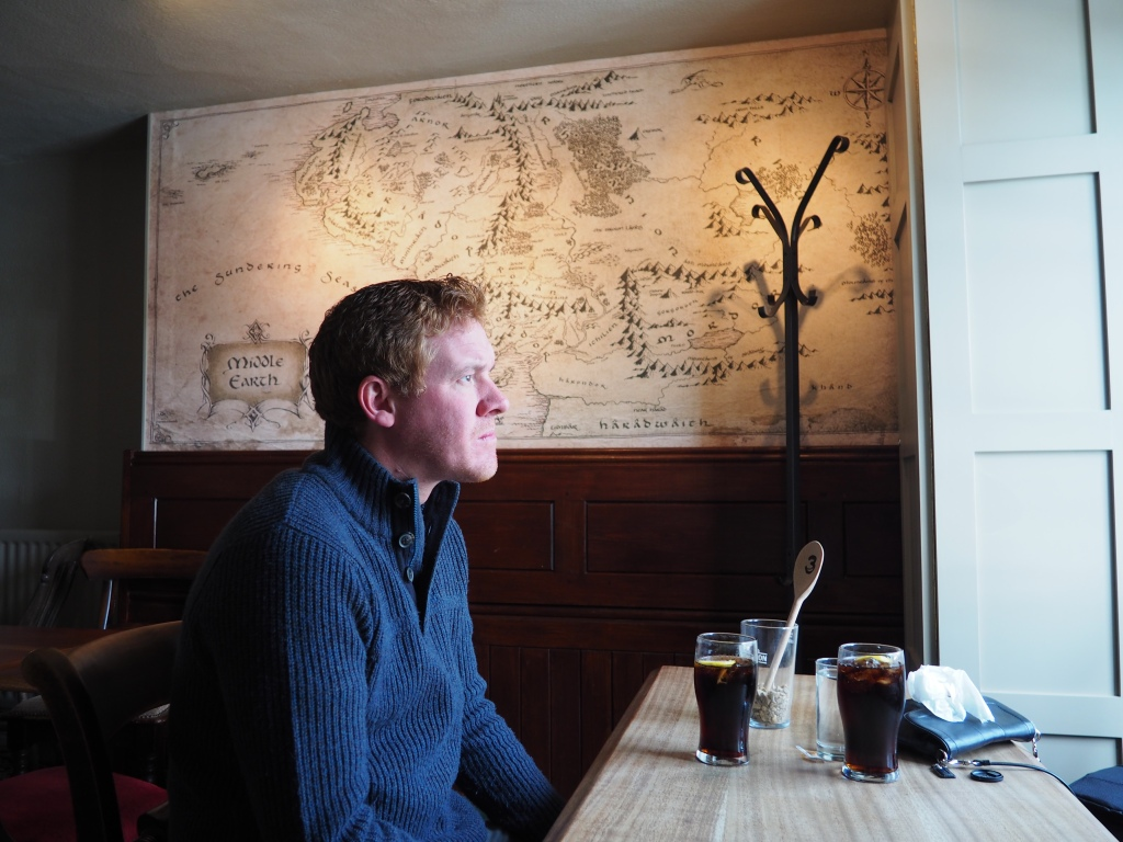 Jamie, at the Bell Inn, thinking about the origins of hobbits.