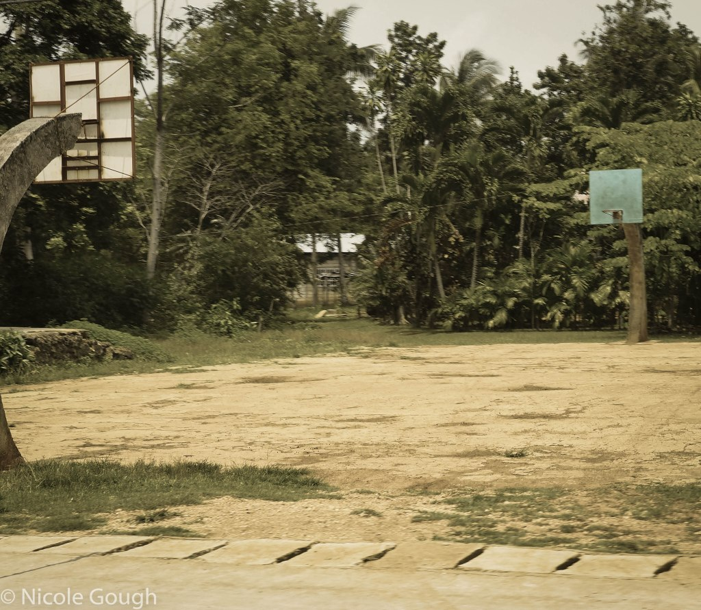 Makeshift basketball court, but not even the coolest one we saw!