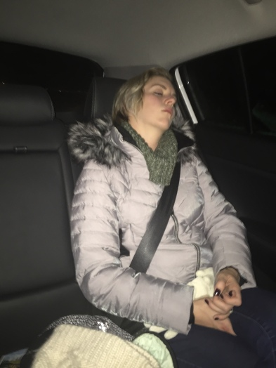 Allison naps as we head out to find the northern lights.